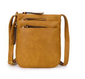 shoulder bag with multi zips - yellow