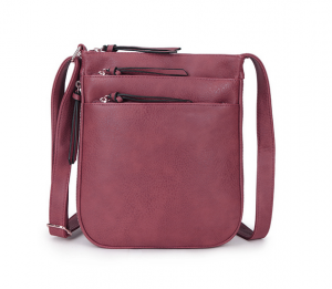 shoulder bag with multi zips - pink