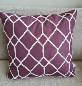 Set of 4 purple patterned cushions