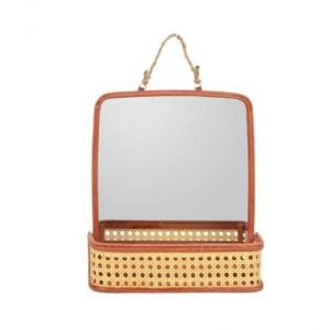 Red Mirror in Straw Type Basket