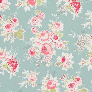 Rose Garden Aqua Oilcloth