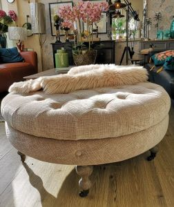 Ruby Round footstool Mink