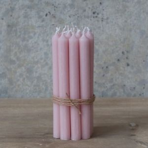 S/10 Dinner Candles Taper Pink