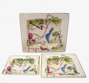 Set of Three Dishes with Birds