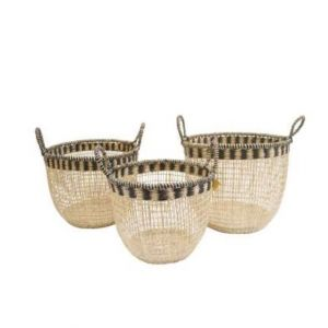 Set of Three Straw Type Carrier Baskets