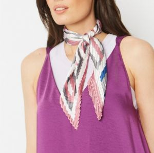 Silk Blend Pleated Scarf Pink