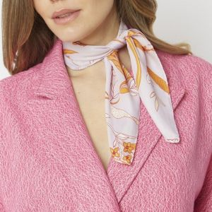 Silk Blend Scarf Orange/Light Purple
