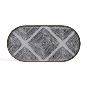 Slate Linear Squares Glass Tray Oblong Medium