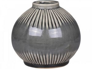 Alasce Two Toned Grey Striped Vase Small