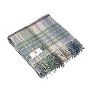 Small Wool Throw Picnic Blanket Blue/Green/Camel/Burgundy Plaid