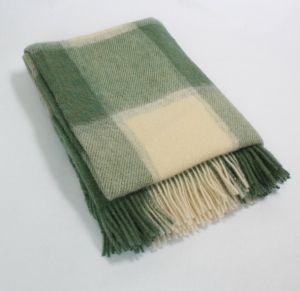 Small Wool Throw Picnic Blanket Green/Cream