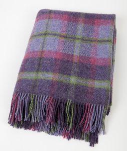Small Wool Throw Picnic Blanket Purple/Pink/Green Tartan