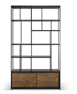 Teak Studio Rack - 2 Sliding Doors - Varnished
