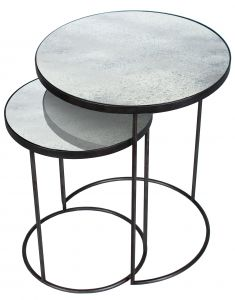 Clear - Heavy Aged Mirror - Round Nesting Side Table Set