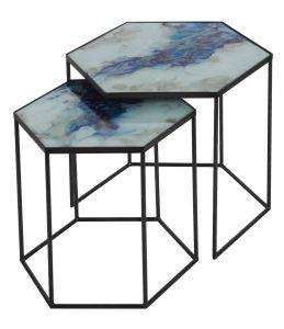 Cobalt Mist Organic side nest of tables
