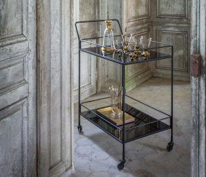 Dixon Bar Cart 2 Charcoal Mirror Shelves