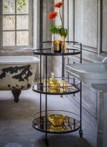 Lucy Bar Cart 3 Bronze Mirror Shelves