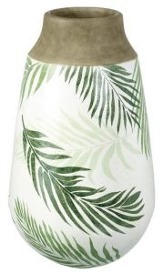 Tropicana Vase Ceramic White Green