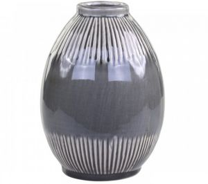 Alasce Two Toned Grey Striped Vase Tall