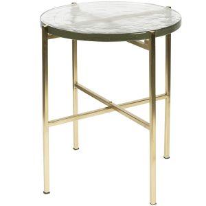 SIDE TABLE VIDRIO BRASS