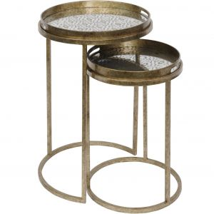 Vienna Antique Gold Diamond Side Tables S/2