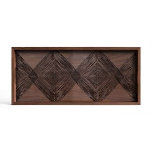 Walnut Linear Squares Glass Tray Rectangular Medium