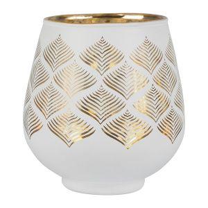 Photophore Menez White/Gold Glass Large
