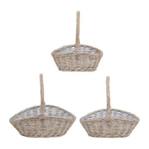 Willow Basket Whitened S/3