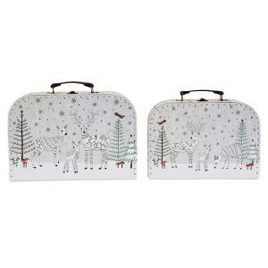 Winter Forest Folk Deer Suitcases S/2